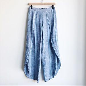 DREW Wide Leg Split Linen Blue Striped Pant Small